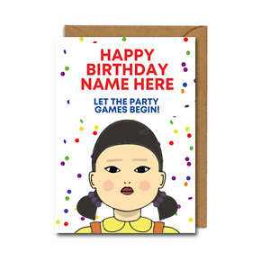 SQUID GAME Birthday Card Personalised FUNNY games netflix novelty KOREA