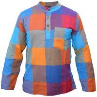 Men's Hippy Patchwork Rainbow Check Collarless Grandad Full Sleeve Summer Shirt