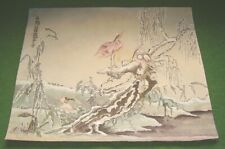 ANTIQUE JAPANESE PAINTING of TWO CRANES IN WINTER LANDSCAPE CALLIGRAPHY SIGNED