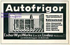 Autofrigor Escher Wyss Lindau Reklame 1928 Kühlautomat Kühlschrank Werbung +