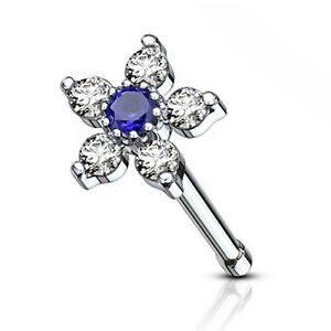TWO COLOR CZ FLOWER 20G NOSE RING STUD BONE STEEL BODY PIERCING JEWELRY