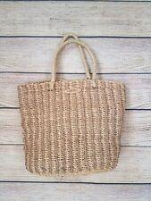 Vintage ESPRIT Woven Straw Tote Purse Bucket Double Handle Bag Woven Strap