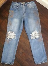 Free People Blue Distress Gold Paint Stencil & Destroyed High Rise Jean 26 NEW