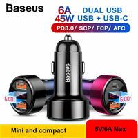 Baseus 45W Dual USB Car Charger Digital Display QC 3.0 PD Charger Adapter Kit