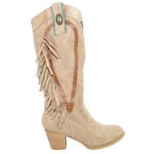 Stivali camperos texani donna beige scamosciati con frange borchiette western fa