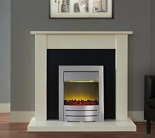 ELECTRIC FIRE IVORY BLACK FIREPLACE SURROUND BRUSHED STEEL COAL FLAME SALE