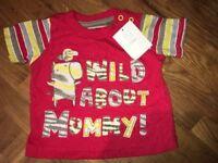 TU Baby Boys T-Shirt Red Safari Zebra WILD ABOUT MUMMY Size: 56-62cm