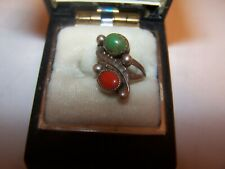 VINTGE-Navajo Silver Turquoise & Coral Nugget Ring Sz 4 -Beautiful Little Ring!