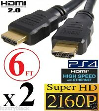 2 X PREMIUM 30AWG HDMI 2.0 CABLE 6FT 4K TV BLURAY 3D DVD PS4 XBOX 2160P