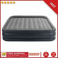 Gray Deluxe Pillow Rest Inflatable Air Mattress Bed W/ Built In Pump King Size