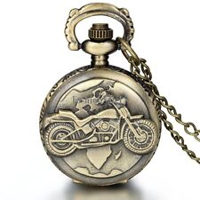 Vintage Unisex Bronze Motorcycle Quartz Pocket Watch Pendant Necklace Chain New