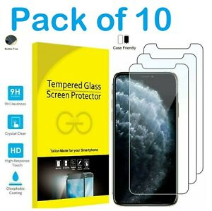 Bulk Pack of 10 X Tempered Glass Screen Protectors For iPhone  12 11 Pro X XS