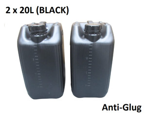 2 x 20 LITRE 20L PLASTIC BOTTLE JERRY WATER CONTAINER CANISTER ANTI GLUG - BLACK
