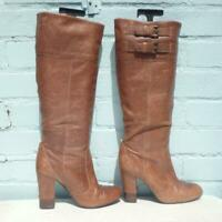 Faith Leather Boots Size UK 6 Eur 39 Womens Sexy Pull on Distressed Brown Boots