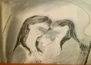 Old Man/Mother & Children 2-Sided Pencil/ Crayon Drawing-1950s-August Mosca