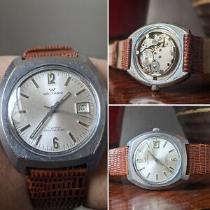 Gents Vintage Waltham Hand Wind 70s Cushion 17J Sunburst Dial Watch - Working