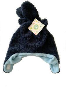 Little Me Boys Faux Fur Trapper Hat & Mitten Set  12-24 Months Navy Blue (N59)