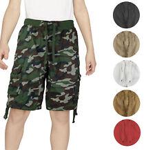 Chicos elástico en la cintura con cordón Multi bolsillo algod Niño que empieza caminar Pantalones cortos de carga