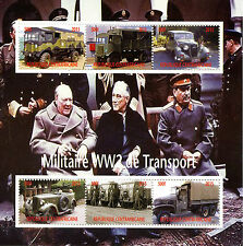 Central African Rep 2015 CTO WWII WW2 Military Transport 6v M/S Churchill Stamps