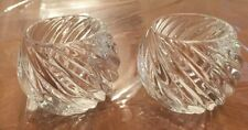 Pair Of Brilliant Crystal Votive Candle Holders With Swirl Design