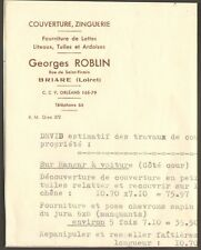 45 BRIARE FACTURE DEVIS COUVERTURE GEORGES ROBLIN 1959