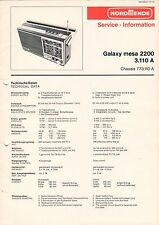 NORDMENDE - Galaxy mesa 2200 3.110 A - Service Information Schaltbild - B3132