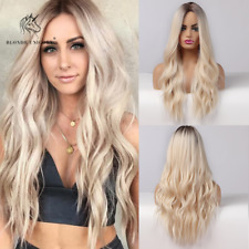 Long Water Wave Ombre Synthetic Wigs Brown Platinum Blonde Hair for Women Ladies