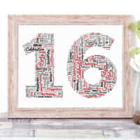 Personalised 16th 18th 21st 30th 40th 50th Age Word Art Print A4 Birthday Gift