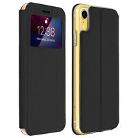 Window flip case, flip wallet case with stand for Apple iPhone XR – Black