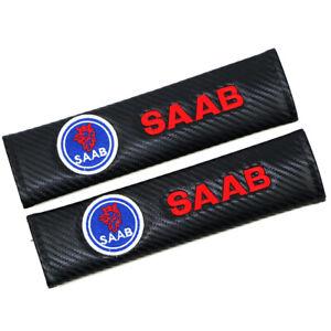 2x For SAAB Fiber Car Seat Belt Safety Shoulder Strap Cover Cushion Pad Carbon