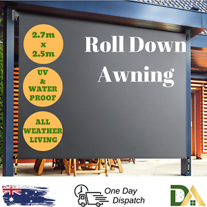 Outdoor Deck Shade Privacy Screen Roll Down Blind Retractable Awning 2.7m x 2.5m