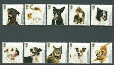 GREAT BRITAIN 2010 CATS AND DOGS  SET OF 10 SINGLES FINE USED
