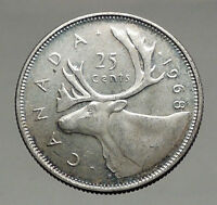 1968 CANADA United Kingdom Queen Elizabeth II Silver 25 Cent Coin CARIBOU i56892