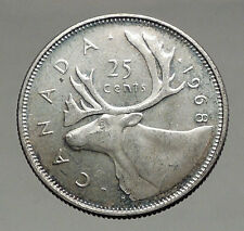 1968 CANADA United Kingdom Queen Elizabeth II Silver 25 Cent Coin CARIBOU i56892