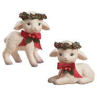 "Set/2 4"" Bethany Lowe White Lambs Holly Leaf Retro Vntg Christmas Figurine Decor"