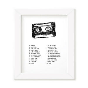 Roxy Music Mixtape Poster, Framed Original Art, Singles Album Print Lyrics Gift