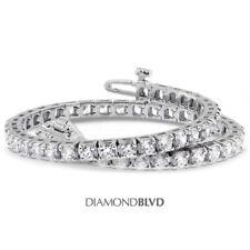 7 1/2 CT G SI1 Round Natural Diamonds 14K Gold Square Head Tennis Bracelet