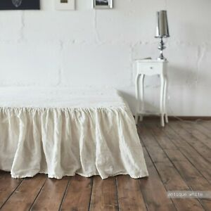 BED SKIRT Dust ruffle 100% French Linen coverlet linen bedspread stonewashe FLAX