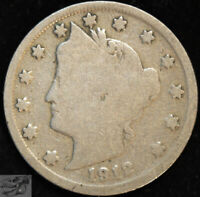 Rare 1912 S Liberty Nickel, V Nickel, Good+ Condition, Free Shipping, C4937