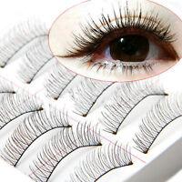 10 Pairs Natural Cross Handmade Eye Lashes Makeup Extension False Eyelashes New