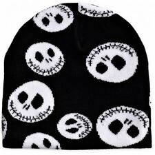 Jack Beanie Hat Nightmare Before Christmas NBC Ski hat  Black with White Faces.