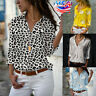 Womens Button Blouse Long Sleeve V neck T Shirt Basic Floral Ladies OL Tee Tops