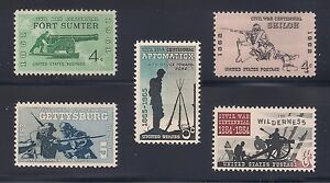 CIVIL WAR CENTENNIAL STAMP COLLECTION - COMPLETE SET OF 5 - MINT CONDITION