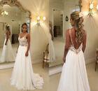 Sexy Backless Beach Wedding Dresses Lace Applique V Neck A Line Boho Bridal Gown