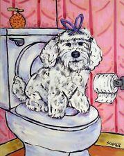 Maltese bathroom picture dog art print animal  artist reproduction 8x10