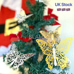 12Pcs Christmas Tree 3D Butterfly Decorations Metallic Art Party Ornament Decals