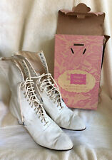 Antique Womens Old Vintage White Canvas Boots Shoes 34 Hole Lace Up Krupp Tuffly