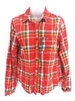 HOLLISTER Womens Shirt M Medium Red Blue Green White Yellow Check Cotton