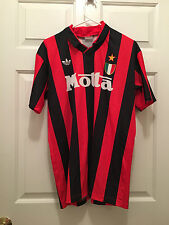 Vintage AC Milan Italy Adidas Home Football Soccer Red Jersey Von Basten Medium
