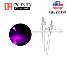 100pcs 2mm LED Diodes Water Clear Pink Light Flat Top Transparent USA